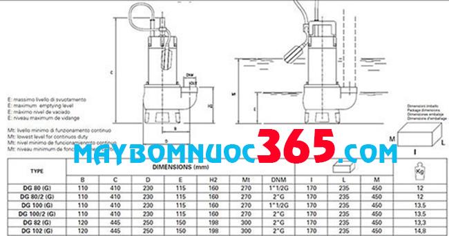 Sơ đồ cấu tạo máy bơm chìm nước thải thân inox Pentax DGT 100 G 1.8HP