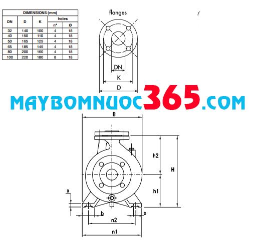 Sơ đồ cấu tạo máy bơm ly tâm trục ngang công nghiệp Pentax CM 32-160C 2HP