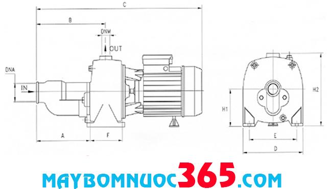 Sơ đồ cấu tạo máy bơm tự động tăng áp biền tần Pentax CAMT 100/00 230/40-50 S.D+EPIC 1HP