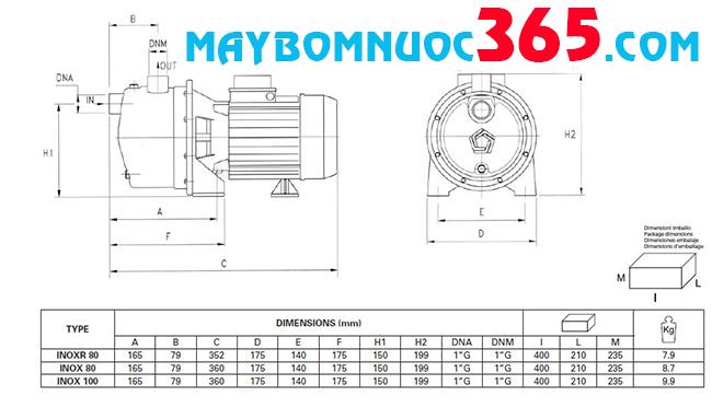 Sơ đồ cấu tạo máy bơm dân dụng Pentax inox 100/50 1HP