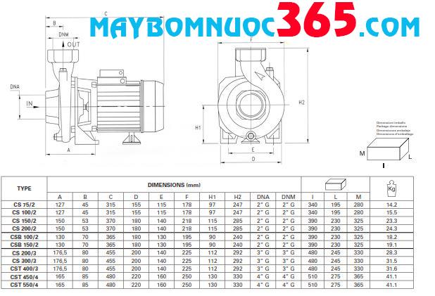 Sơ đồ cấu tạo máy bơm lưu lượng Pentax CS 300/3 3HP