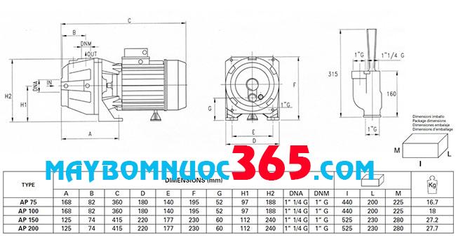 Sơ đồ cấu tạo máy bơm dân dụng Pentax AP 100 1HP