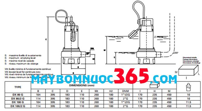 Sơ đồ cấu tạo máy bơm chìm nước thải inox Pentax DXT 100 G 1.8HP