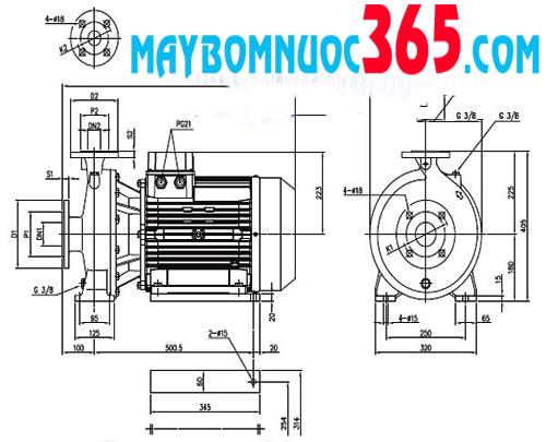 Sơ đồ lưu lượng máy bơm ly tâm trục ngang đầu gang Ebara LD MD 50-250 30HP