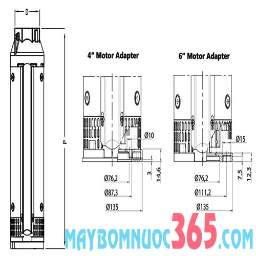 Bơm nước giếng khoan sâu cánh inox FRANKLIN 6inch IMPO SS 636/6 10 HP