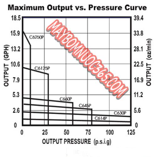 Sơ đồ lưu lượng máy bơm định lượng hóa chất BLUE WHITE C6250-P