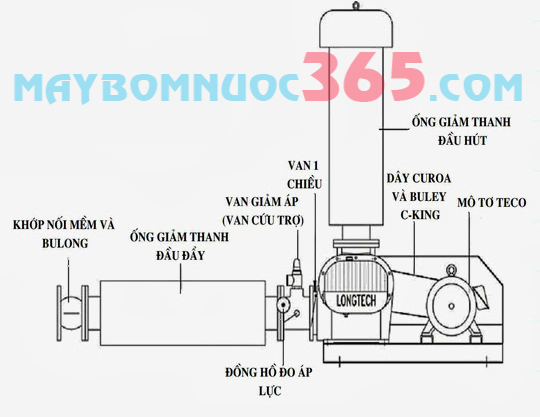 Máy thổi khí LONGTECH bao gồm motor LTS-032