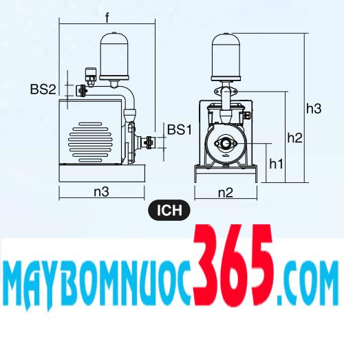 Bơm nước tăng áp giá rẻ biến tần Mitshubishi ICH-C150VT 2 HP