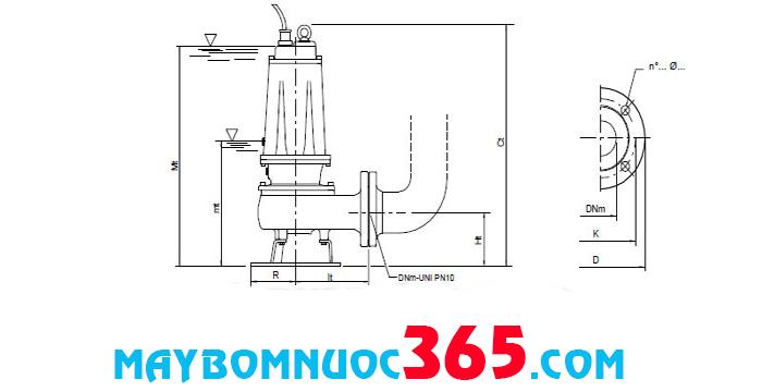 Sơ đồ cấu tạo máy bơm chìm nước thải công nghiệp (có cánh cắt) Pentax DTRT 550 5.5HP