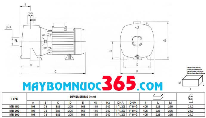Sơ đồ cấu tạo máy bơm dân dụng Pentax MBT 300 3HP