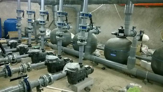 Công trình lắp đặt bơm hồ bơi và bình lọc cát Waterco